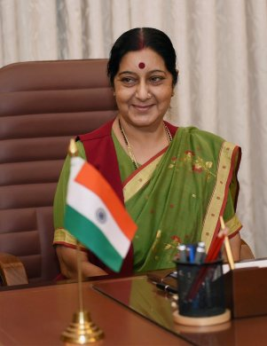 New Delhi: Sushma Swaraj takes charge as the Minister of External Affairs at South Block in New Delhi on Wednesday. PTI Photo by Atul Yadav(PTI5_28_2014_000014B)